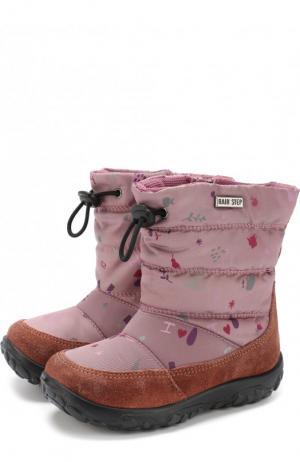 Сапоги с текстильной отделкой Naturino. Цвет: розовый