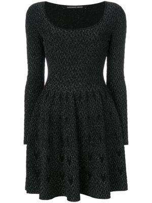 Платье мини с вырезом ковш Antonino Valenti. Цвет: чёрный