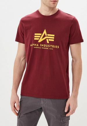 Футболка Alpha Industries. Цвет: бордовый