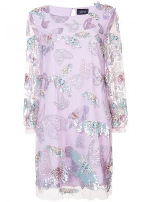 Украшенное бисером и пайетками платье Marchesa Notte. Цвет: розовый и фиолетовый