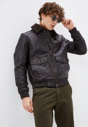 Куртка кожаная Blauer USA. Цвет: коричневый
