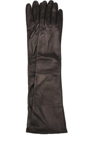 Удлиненные кожаные перчатки Erika Cavallini. Цвет: черный