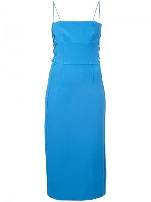 Платье-бюстье со шнуровкой Dion Lee. Цвет: синий
