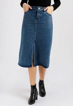 Юбка джинсовая Finn Flare. Цвет: синий