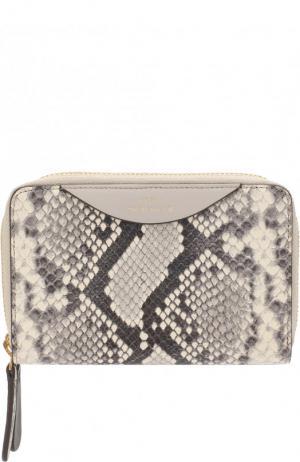Кожаный кошелек с отделениями на молниях Anya Hindmarch. Цвет: темно-бежевый