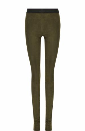 Замшевые брюки-скинни с контрастным поясом DROMe. Цвет: хаки