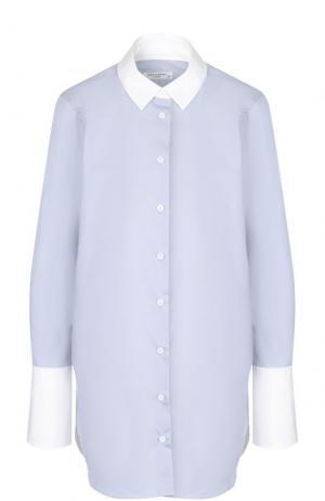 Хлопковая блуза с контрастными манжетами и воротником Equipment. Цвет: синий