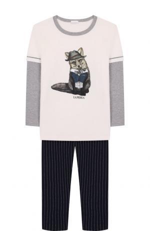 Хлопковая пижама La Perla. Цвет: разноцветный