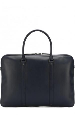 Кожаная сумка для ноутбука  Garavani с плечевым ремнем Valentino. Цвет: темно-синий