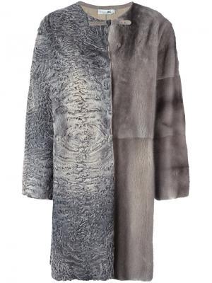 Панельная шуба из меха норки и каракуля Manzoni 24. Цвет: серый