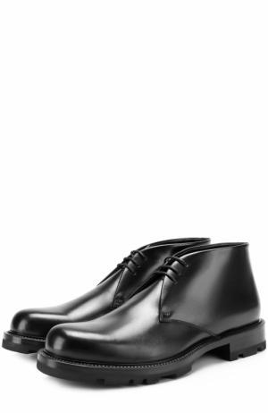 Кожаные ботинки с внутренней отделкой из овчины Jil Sander. Цвет: черный