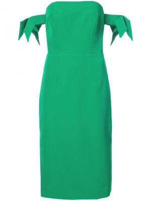 Платье узкого кроя с открытыми плечами Milly. Цвет: зелёный