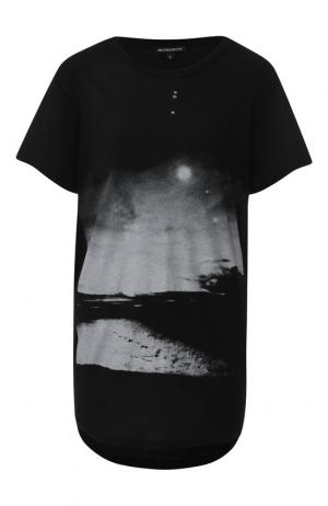 Удлиненная хлопковая футболка с принтом Ann Demeulemeester. Цвет: черный