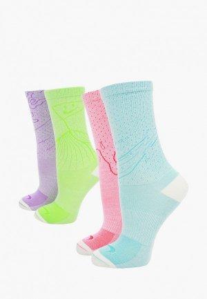 Носки 2 пары Nike. Цвет: разноцветный