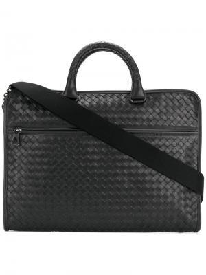 Плетеный кожаный чехол для ноутбука Bottega Veneta. Цвет: чёрный