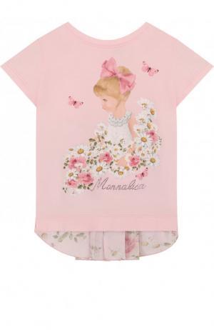 Хлопковая футболка с декоративной вставкой на спине и принтом Monnalisa. Цвет: розовый