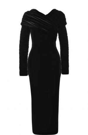 Бархатное платье-миди с драпировкой Christopher Kane. Цвет: черный