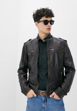 Куртка кожаная Mustang. Цвет: коричневый