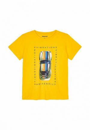Футболка Mayoral. Цвет: желтый