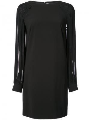 Платье с рукавами из собранных на манжет лент Halston Heritage. Цвет: чёрный