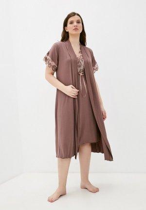 Халат и сорочка ночная Rene Santi. Цвет: коричневый