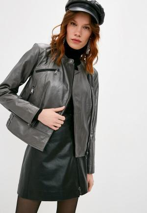 Куртка кожаная Max&Co. Цвет: серый