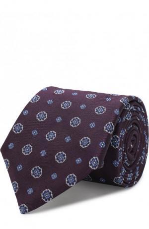 Галстук с узором из смеси шелка и льна Canali. Цвет: фиолетовый