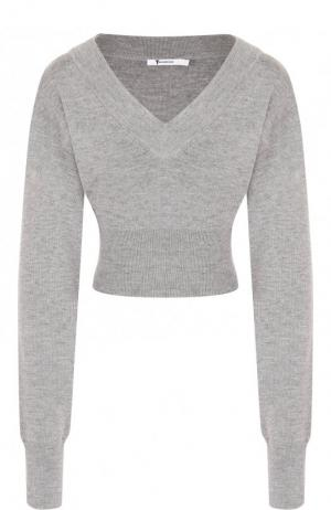 Шерстяной пуловер с V-образным вырезом T by Alexander Wang. Цвет: серый