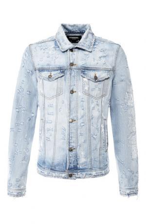 Джинсовая куртка на пуговицах с принтом Dom Rebel. Цвет: синий
