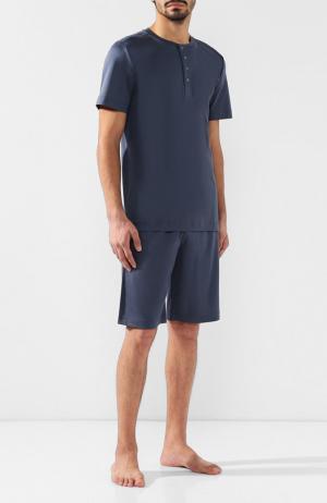 Хлопковая пижама с шортами Zimmerli. Цвет: синий