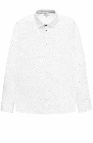 Хлопковая рубашка прямого кроя с принтом Aletta. Цвет: белый