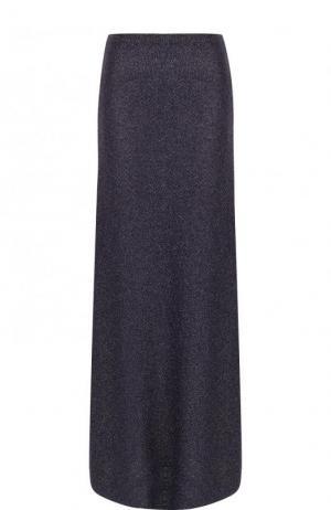 Расклешенная юбка-макси из вискозы Dries Van Noten. Цвет: темно-синий