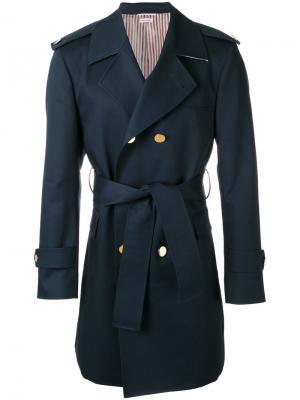Пальто-тренч Thom Browne. Цвет: синий