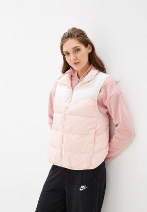 Жилет утепленный Nike. Цвет: розовый