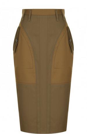 Хлопковая юбка-карандаш с карманами Altuzarra. Цвет: хаки