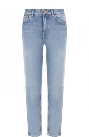 Укороченные джинсы с потертостями MiH Jeans. Цвет: голубой