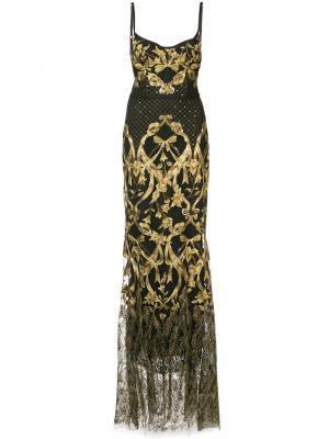 Платье-корсет с вышивкой Marchesa Notte. Цвет: чёрный