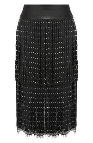 Кожаная юбка с бахромой и декоративной отделкой Alice + Olivia. Цвет: черный