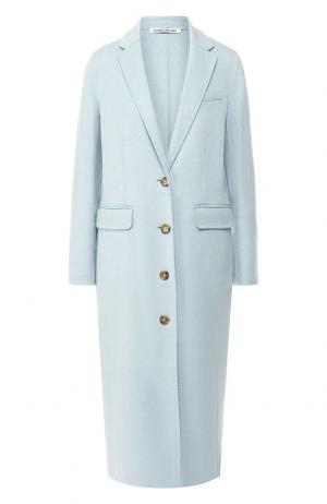 Шерстяное пальто прямого кроя Elizabeth and James. Цвет: голубой