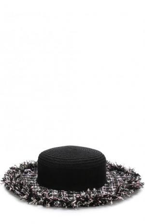 Шляпа с отделкой из твида Eugenia Kim. Цвет: черный