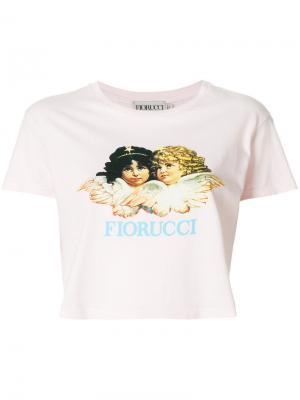 Укороченная футболка с принтом логотипа Fiorucci. Цвет: розовый и фиолетовый