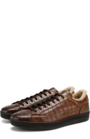 Кожаные кеды с внутренней меховой отделкой Doucals Doucal's. Цвет: коричневый