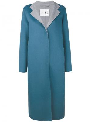 Однобортное пальто Manzoni 24. Цвет: синий