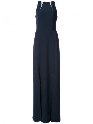 Платье с вырезными деталями Halston Heritage. Цвет: синий