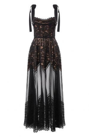 Кружевное платье-макси с открытой спиной Elie Saab. Цвет: черный