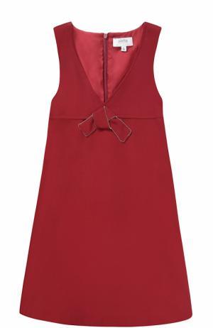 Платье с завышенной талией и бантом Aletta. Цвет: бордовый