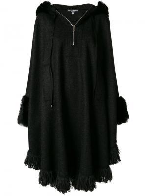 Кейп с меховой оторочкой Dolce & Gabbana. Цвет: чёрный
