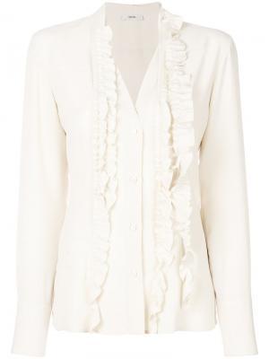 Блузка с оборками Mauro Grifoni. Цвет: телесный