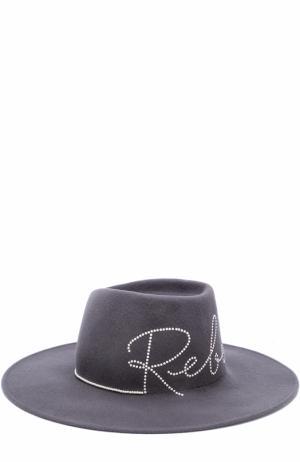 Шерстяная шляпа с отделкой жемчужинами Eugenia Kim. Цвет: серый