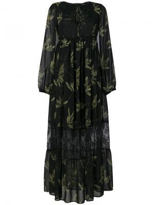 Платье с завышенной талией и принтом листьев Ki6. Цвет: чёрный
